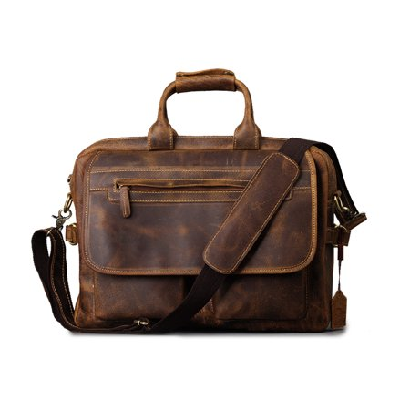 Kattee Crazy-Horse Leather Briefcase Shoulder Business Laptop Bags Tote for Men (Hobo Coffee)
