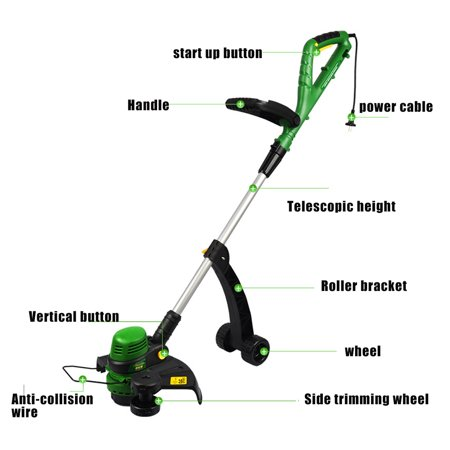 220v Lawn Mower W Wheel Stand Electric Adjustable Push