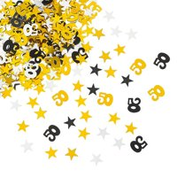 KABOER 2Bags 50th Birthday and Wedding Anniversary Party Table Confetti Decorations  Gold Silver Black 50 Number and Little Star Metallic Foil Confetti for 50th Anniversary Theme Party