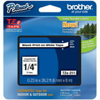 Brother TZE211 6mm Laminated Tape, Black on White