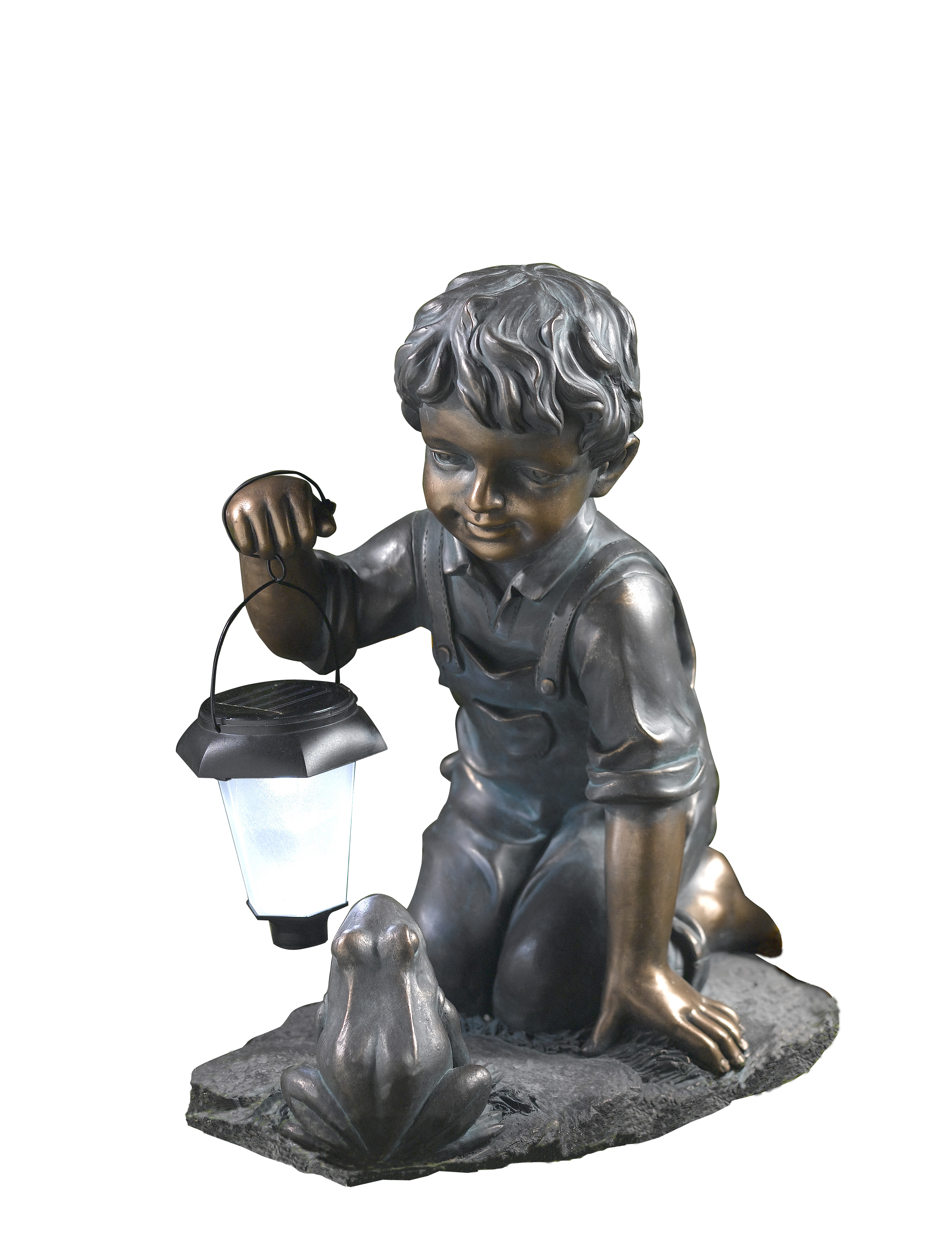 Boy with Solar Light and Frog by Winsome House