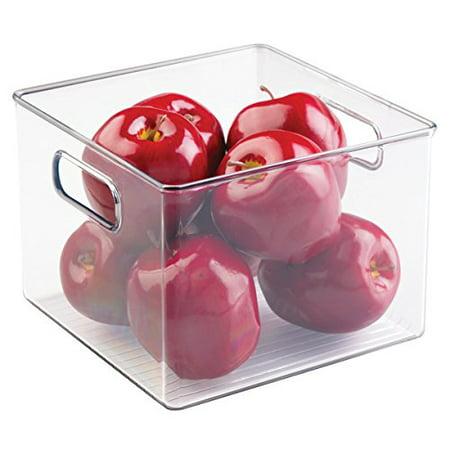 Mdesign Refrigerator  Freezer  Pantry Cabinet Organizer Bins For Kitchen   8 X 8 X 6  Clear