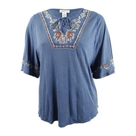Style & Co. Women's Plus Size Lace-Up Embroidered Peasant Top](Plus Size Western Chaps)