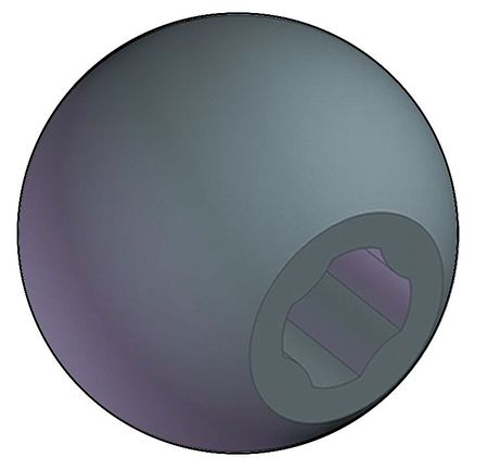 "INNOVATIVE COMPONENTS Universal Ball Knob No Insert, 1/4"", 5/16"", M6, M8 Thread Size, 1.25""L, 3GDG2"
