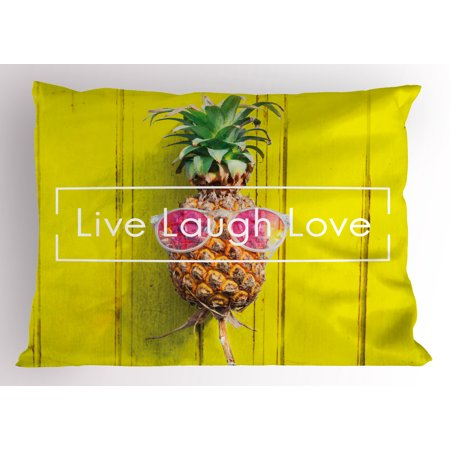 Live Laugh Love Pillow Sham Tropical Pineapple Fruit with Sunglasses on Yellow Wood Board Joyful Print, Decorative Standard King Size Printed Pillowcase, 36 X 20 Inches, Multicolor, by Ambesonne (Pineapple With Sunglasses)