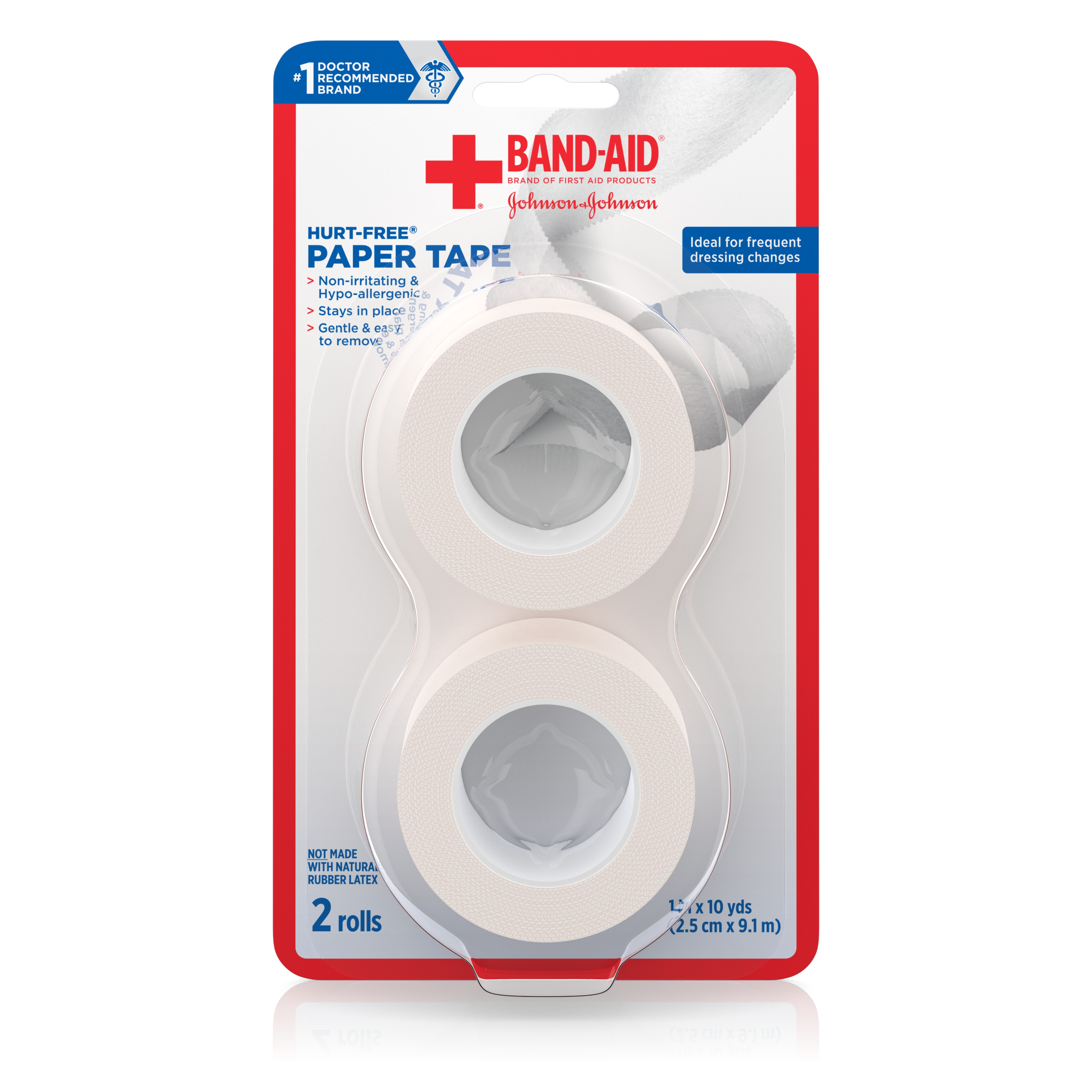 Band-Aid Brand Of First Aid Products Hurt-Free Paper Tape, 1 Inch By 10 Yards, 2 Count