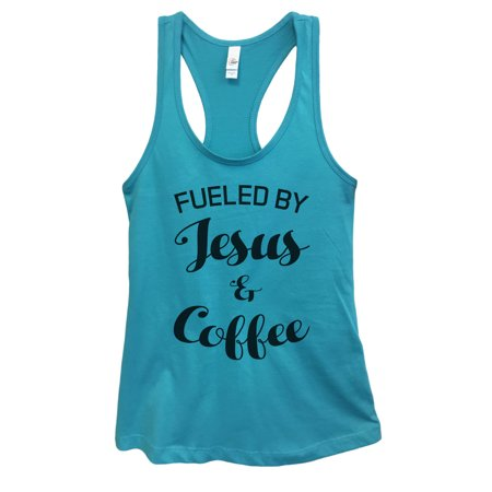 "Women's Junior Christian Church Tank Top ""Fueled By Jesus and Coffee"" Funny Threadz® Large, Sky"
