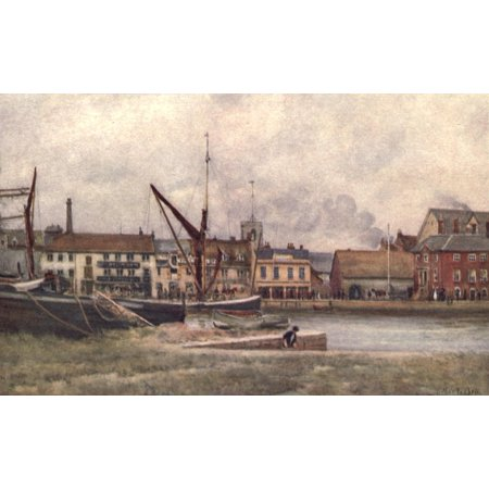 From Harbour to Harbour 1916 Quay Poole Harbour Canvas Art - Arthur G Bell (24 x 36)
