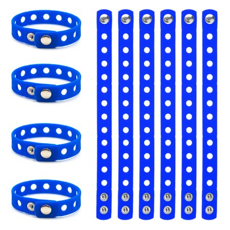 Bulldog Wristband - GOGO Adjustable Silicone Wristband Bracelet For Fit Shoe Charms Adult & Kid Wholesale for Party Gift-Adult Royalblue-10 pcs
