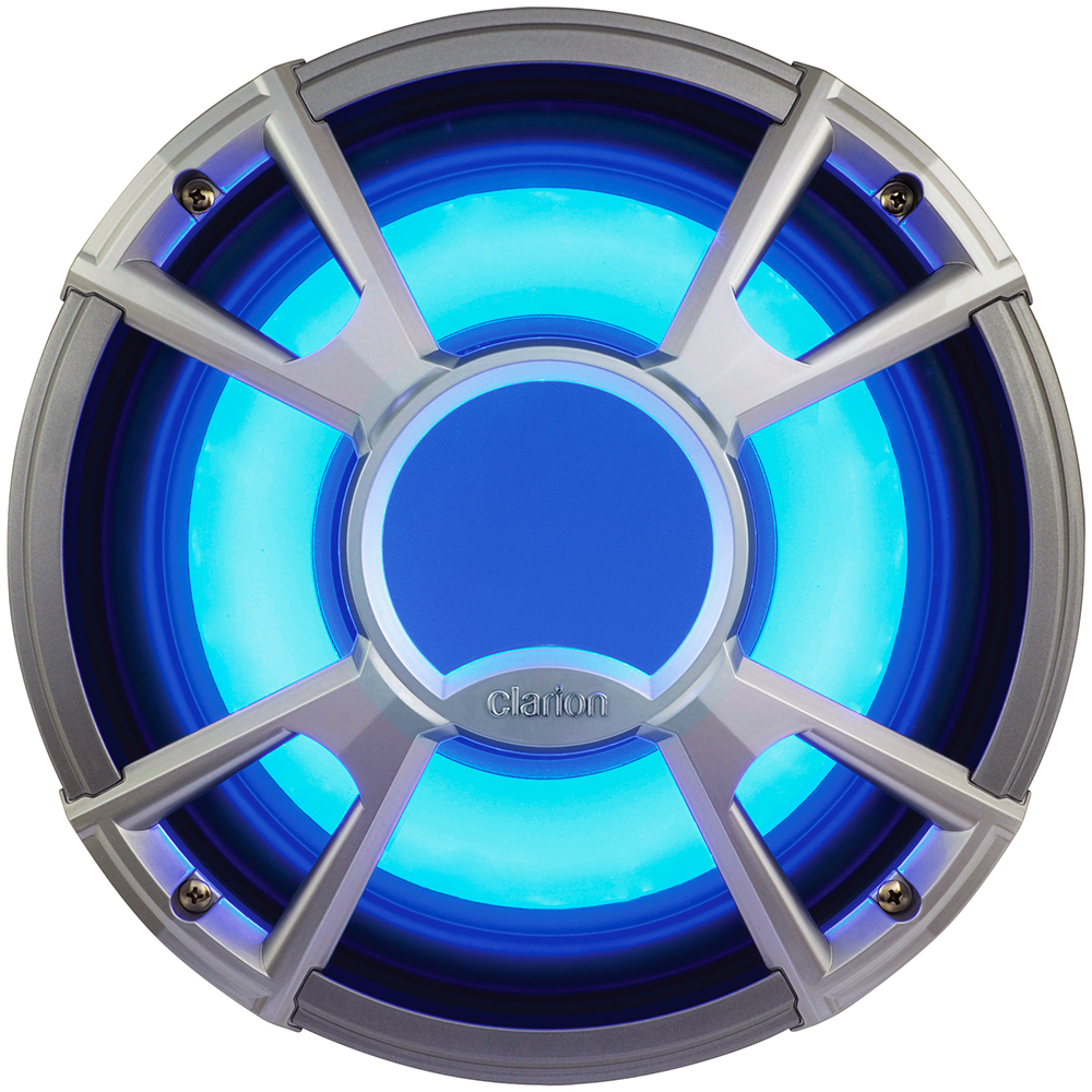 "Clarion CMQ2512WL 10"" 600-Watt Marine Subwoofer with Built-In Blue LED Light"