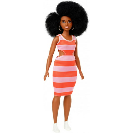 Barbie Fashionistas Doll, Curvy Body Type with Stripe Cut-Out Dress