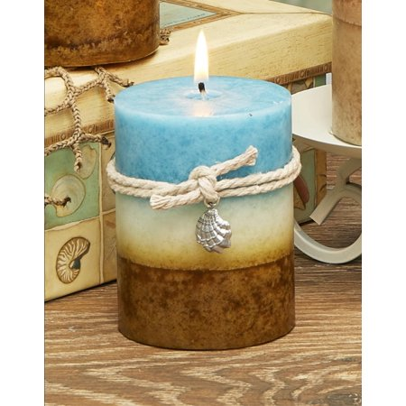 Pack of 4 Chocolate Brown and Sky Blue Coastal Breeze Scented Wax Pillar Candles 4
