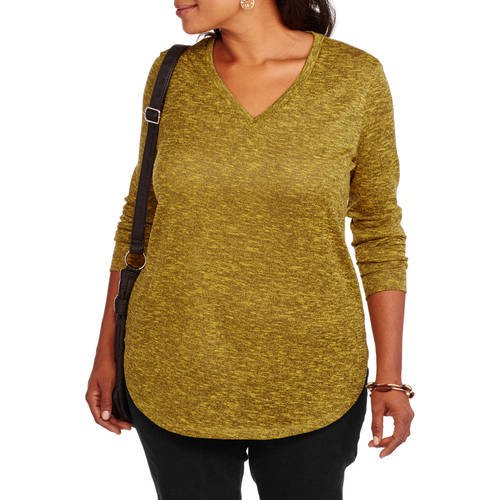 5f6dc4f8 Faded Glory - Women's Plus-Size lightweight V Neck Long Sleeve Knit Top -  Walmart.com