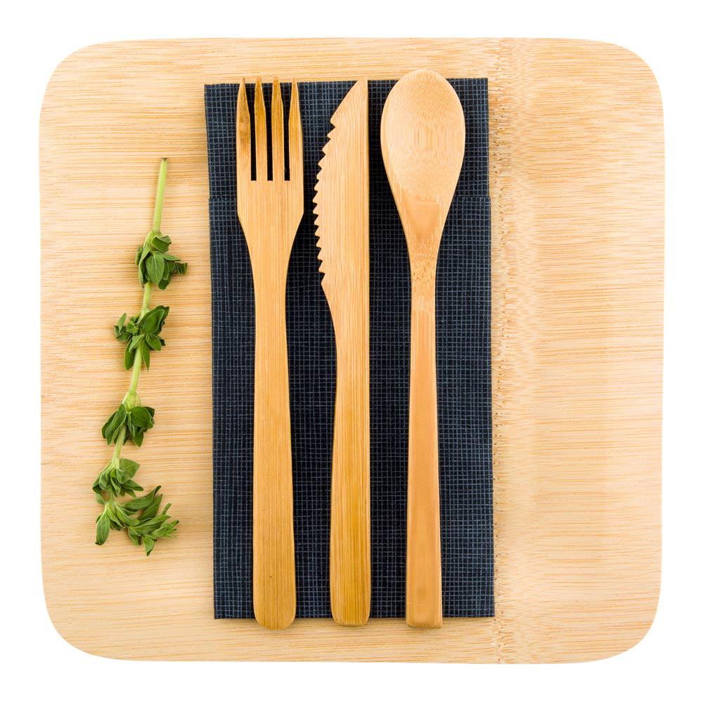"Natural Bamboo Cutlery Set - 8"" x 1 1/2"" x 1 1/4"" - 100 count box"