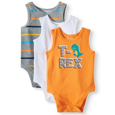 Garanimals Graphic, Stripe & Solid Tank Bodysuits, 3pc Multi-Pack (Baby Boys) - Mens Bodysuit