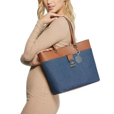Rubic Denim Shoulder Tote Handbag by Guess Guess Handbag Pearl
