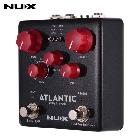 NUX ATLANTIC Delay & Reverb Guitar Effect Pedal Dual Footswitch 3 Delay Effects 3 Reverb Effects Supports Tap Tempo Shimmer Function True Bypass with Mono & Stereo Outputs