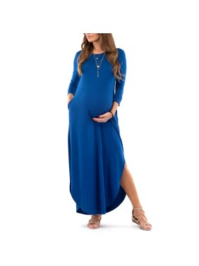 Mother Bee Maternity Women's 3/4 sleeve Maxi Dress with Side Slits and Pockets