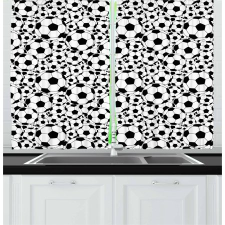 Soccer Curtains 2 Panels Set, Monochrome Design Pattern of Classical Football Balls Kids Boys Cartoon Pattern, Window Drapes for Living Room Bedroom, 55W X 39L Inches, Black White, by Ambesonne