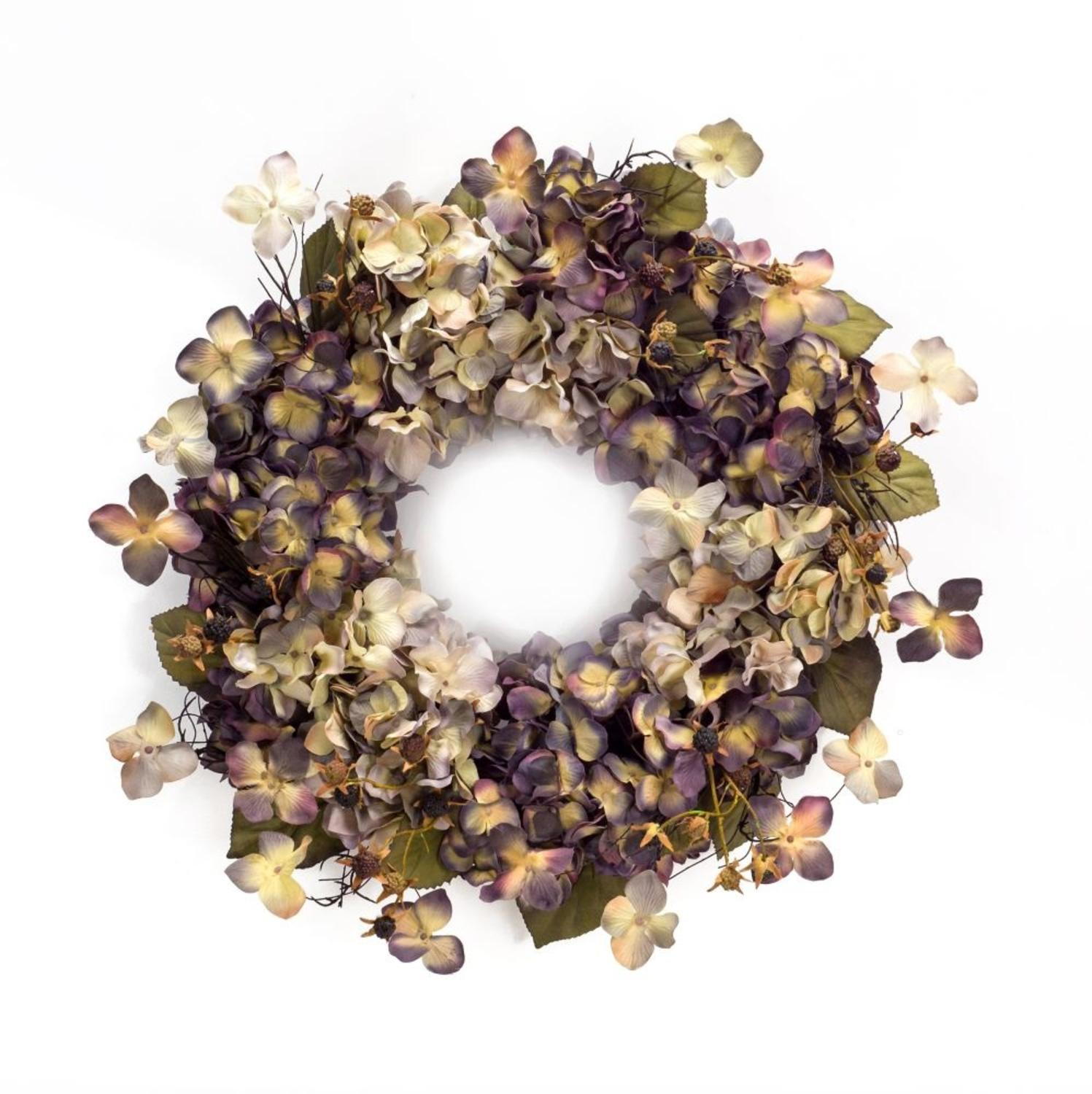 Pack of 2 Summer Purple and White Sun Dried Artificial Hydrangea Wreath 22""