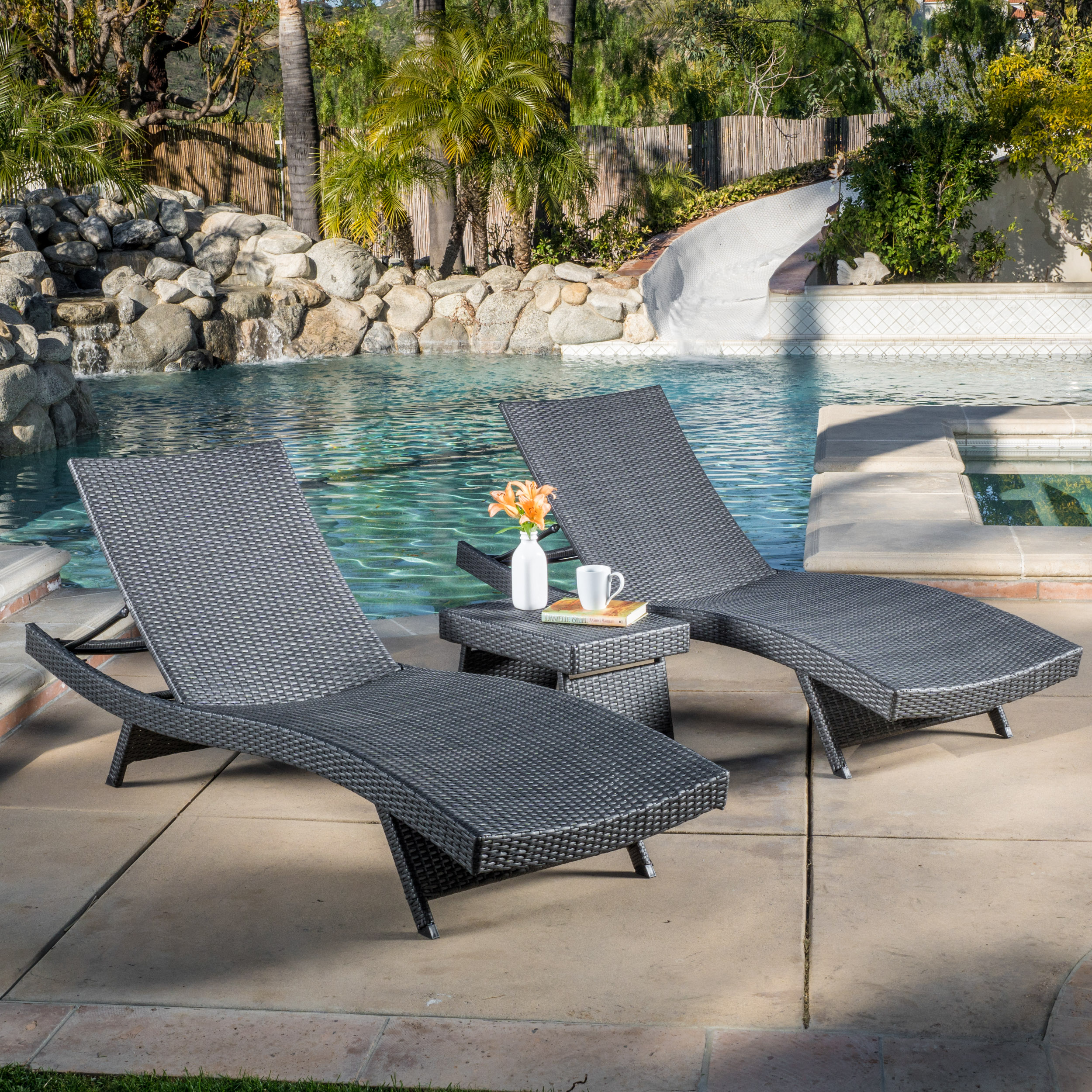 Anthony 3 Piece Outdoor Wicker Adjustable Chaise Lounge Set, Grey