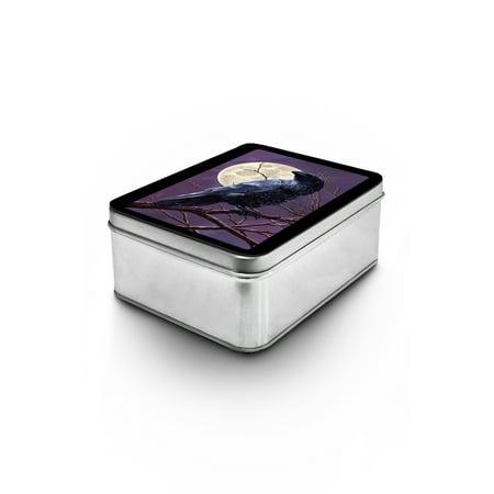 - Raven and Moon Purple Sky - Lantern Press Artwork (Keepsake Tin)