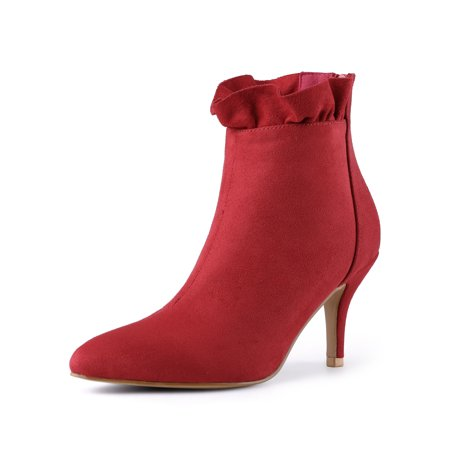 - Women's Pointed Toe Stiletto Heel Ruffle Ankle Boots Red (Size 6)