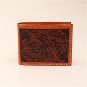 3D Western Wallet Mens Leather Bifold Floral Steer Tan W907