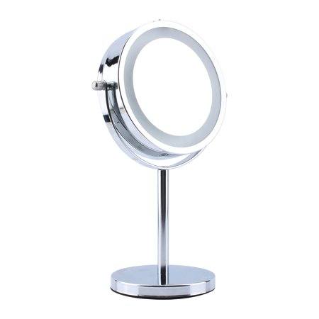 Double Sided 5x Makeup Mirror Adjustable Magnifying Cosmetic Mirror With Led Light And Base