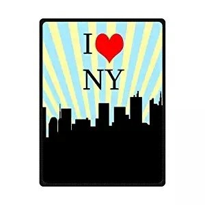 CADecor I Love NY New York City Paper Cut Sketch Blue And White Striped Fleece Throw Blanket 58x80 inches