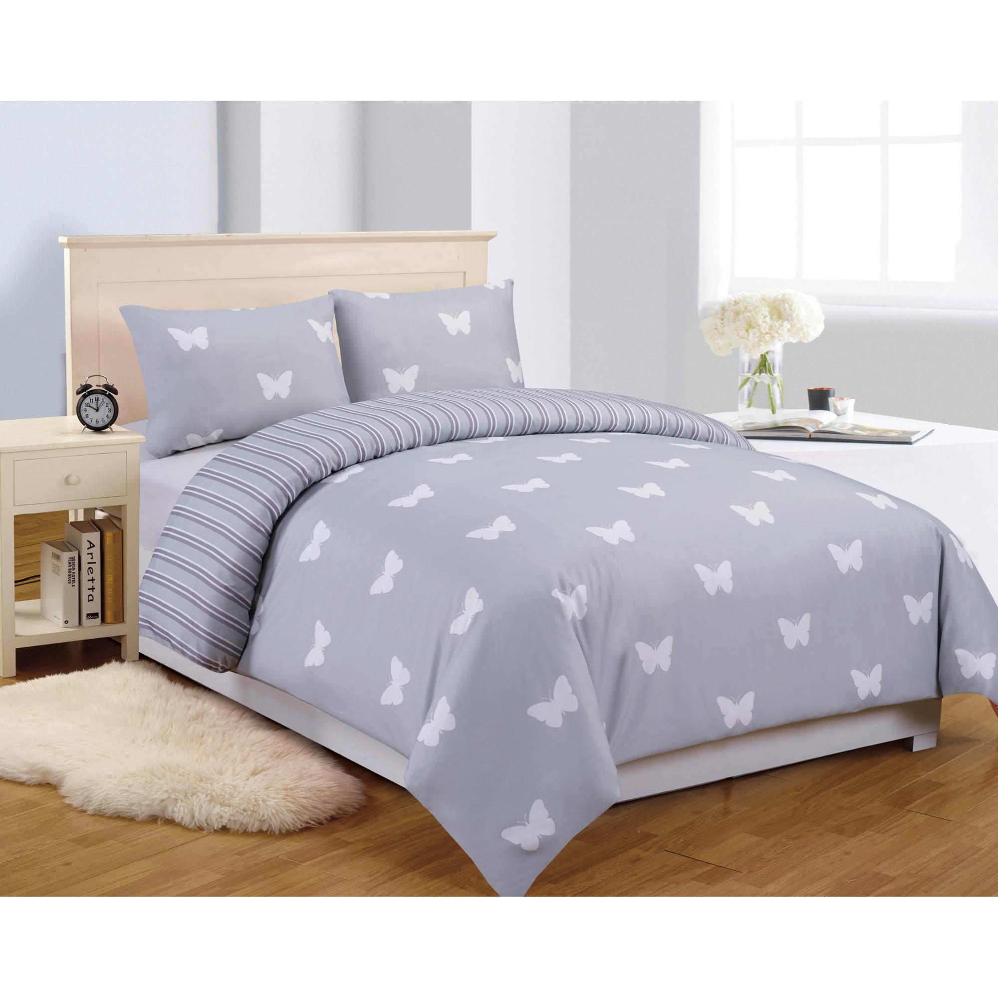 Wink Butterfly 3 Piece Full Comforter Set in Grey