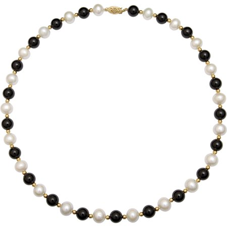 Cultured Pearl Onyx Necklace (7.5-8.5mm Cultured Freshwater Pearl and Black Onyx 14kt Yellow Gold Bead Necklace,)