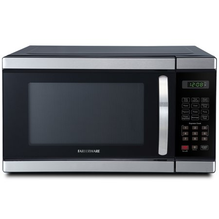 Farberware Professional FMO11AHTBKM 1.1 Cu. Ft 1000-Watt Microwave Oven, Brushed Stainless Steel, Green LED