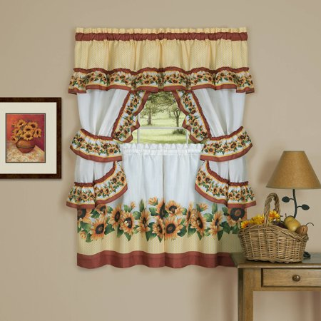 Apple Kitchen Curtains - Achim Black Eyed Susan Window Kitchen Curtain Cottage Set, Spice