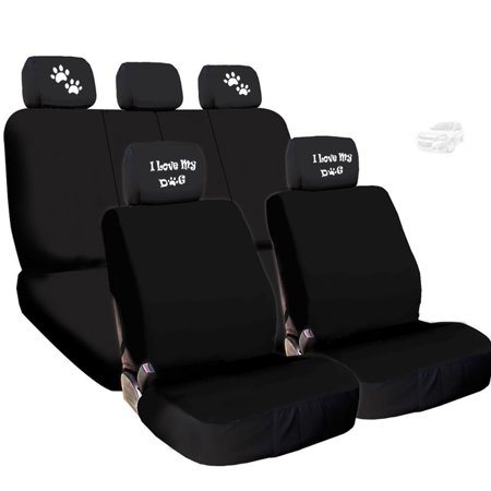 New Flat Black Cloth Seat Covers Full Set with 4 Embroidery I Love My Dog, Paws Logo Headrest Covers - Shipping Included