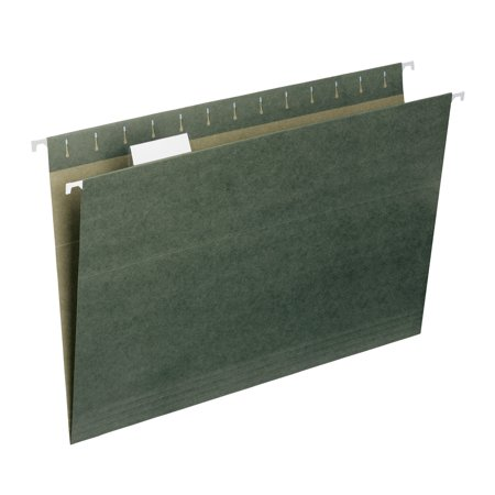 - Smead Hanging File Folder with Tab, 1/5- Cut Adjustable Tab, Legal Size, Standard Green, 25 per Box (64155)