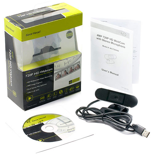 Gear Head USB HD Webcam with Dual Microphones, WC7500HD