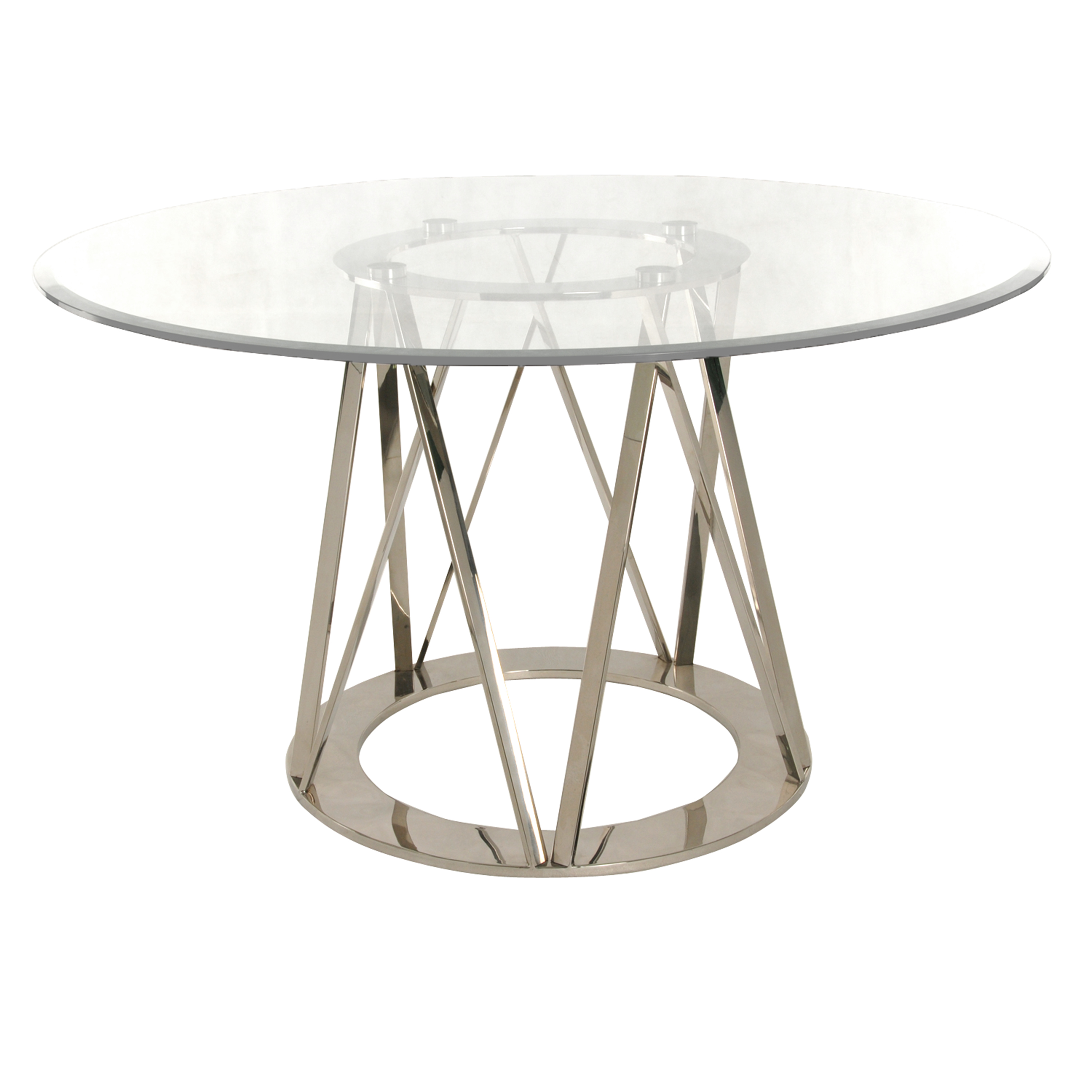 Rolin Round Dining Table, Stainless Steel by NPD