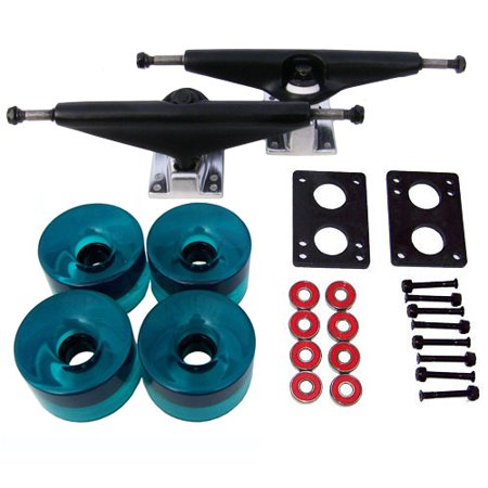 RADIUS LONGBOARD Skateboard TRUCKS 76mm WHEEL Package! BLACK/AQUA