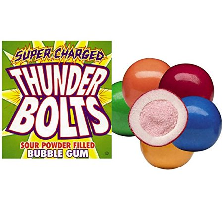 BAYSIDE CANDY GUMBALLS THUNDER BOLTS-SOUR POWEDER FILLED 25mm or 1 inch , 1LB - Black Thunder Candy
