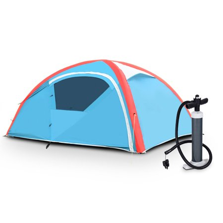 Gymax 3 Person Inflatable Family Tent Camping Waterproof Wind Resistant w/ Bag Pump
