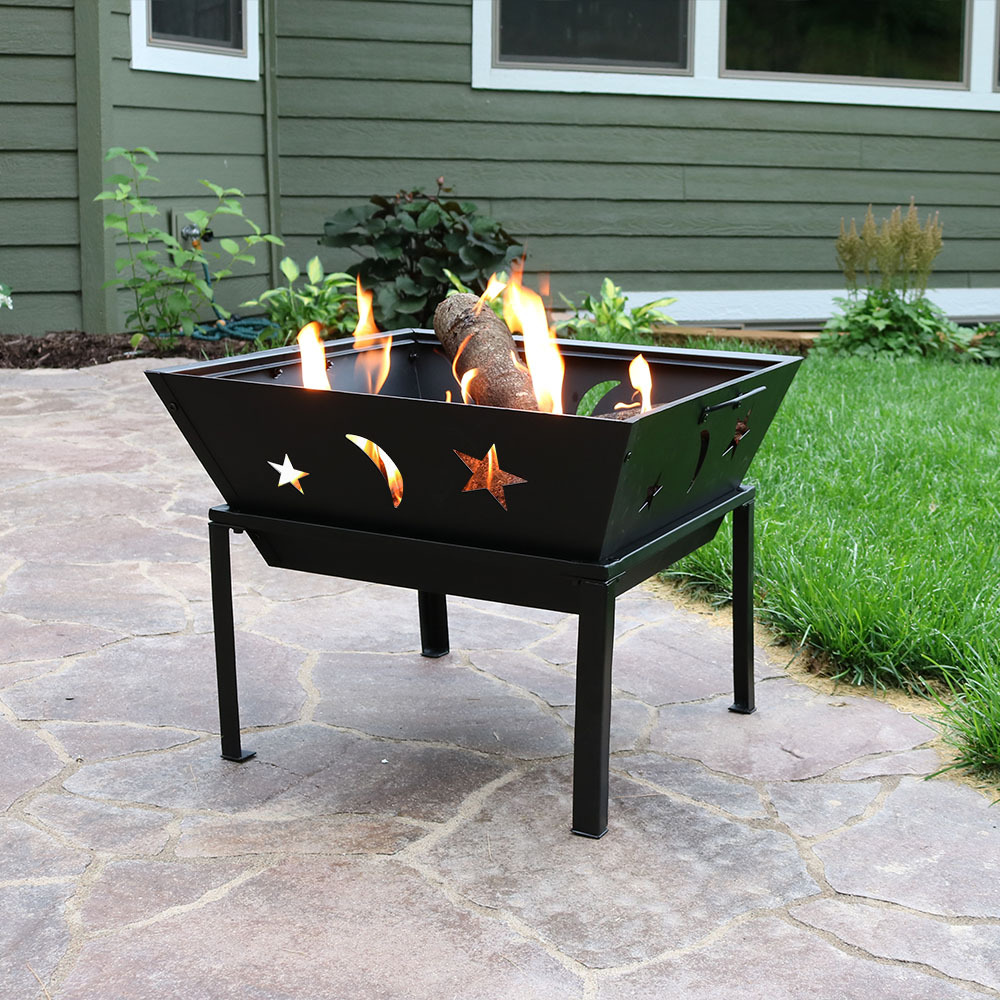 Sunnydaze 22 Inch Outdoor Square Stars and Moons Firepit with Spark Screen by Sunnydaze Decor