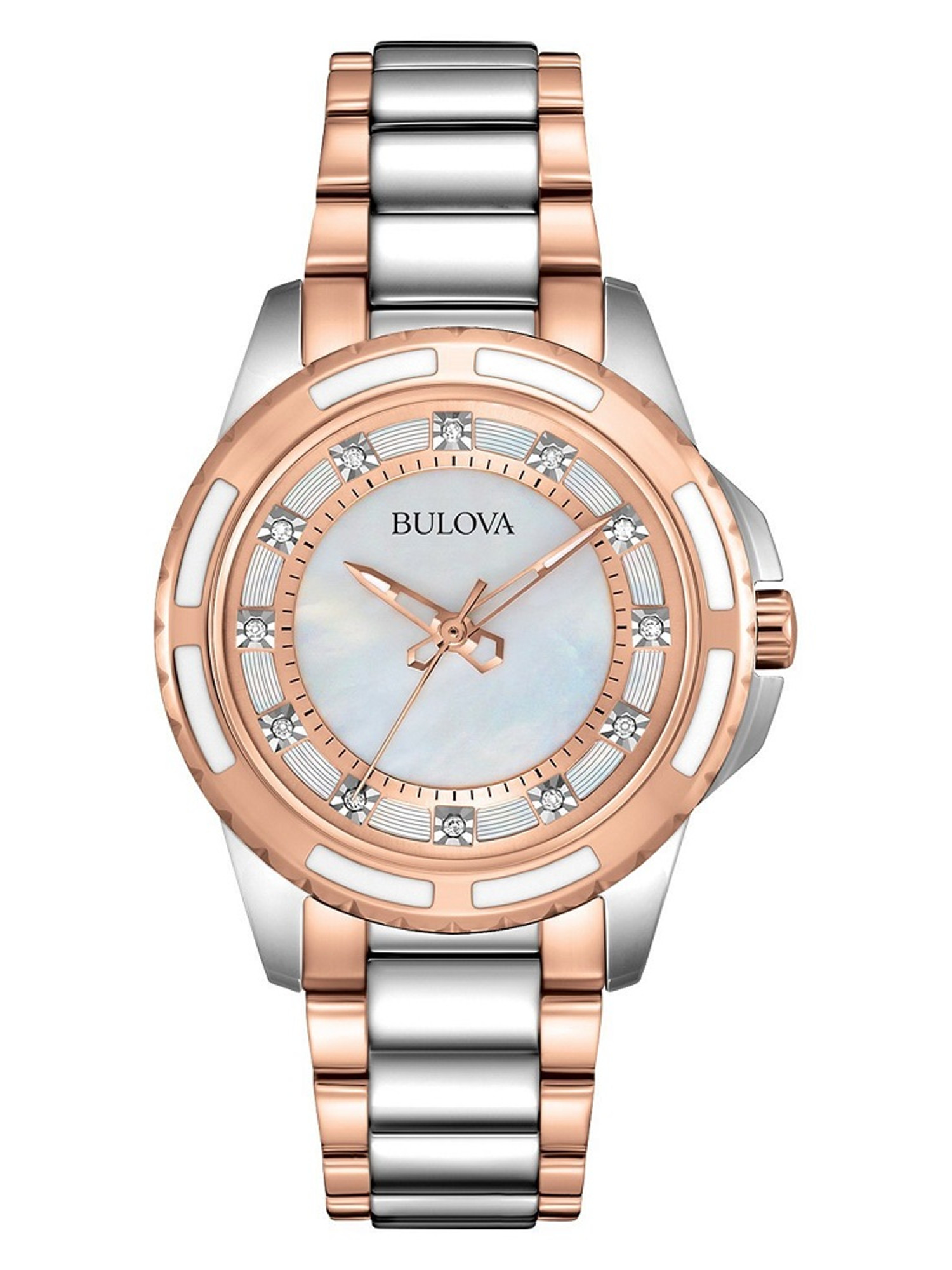 Bulova Ladies Stainless Steel and Diamonds Rose and Silver Tone Watch