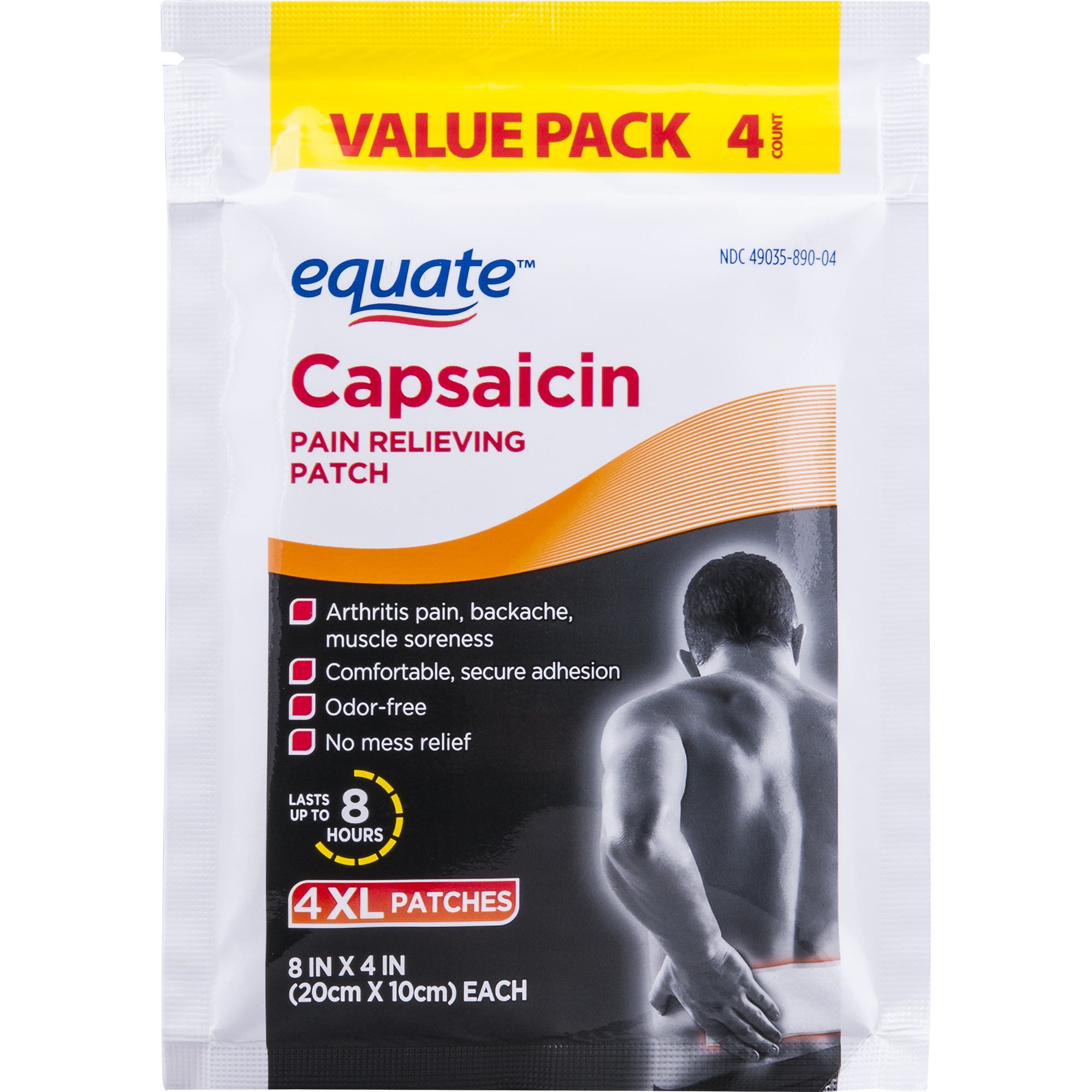 Equate Capsaicin Pain Relieving Patch, XL, Value Pack, 4 Ct