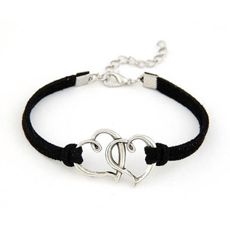 Filigree Heart Anklet - Double Heart Anklet Bracelet Leather Jewelry Double Heart Chain Leather Anklet