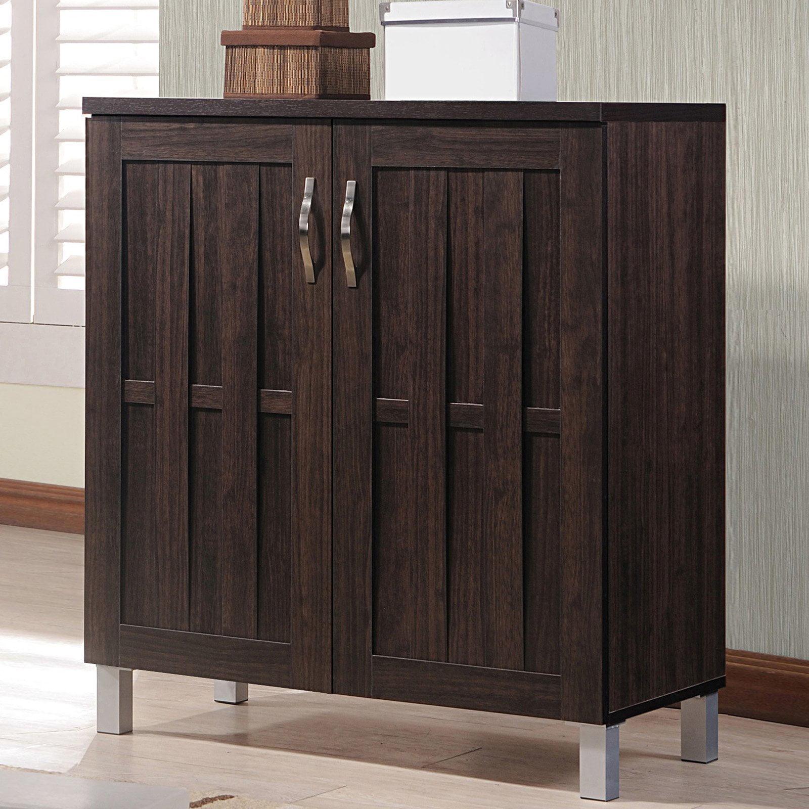 Baxton Studio Excel Modern And Contemporary Dark Brown Sideboard Storage Cabinet Walmart Com