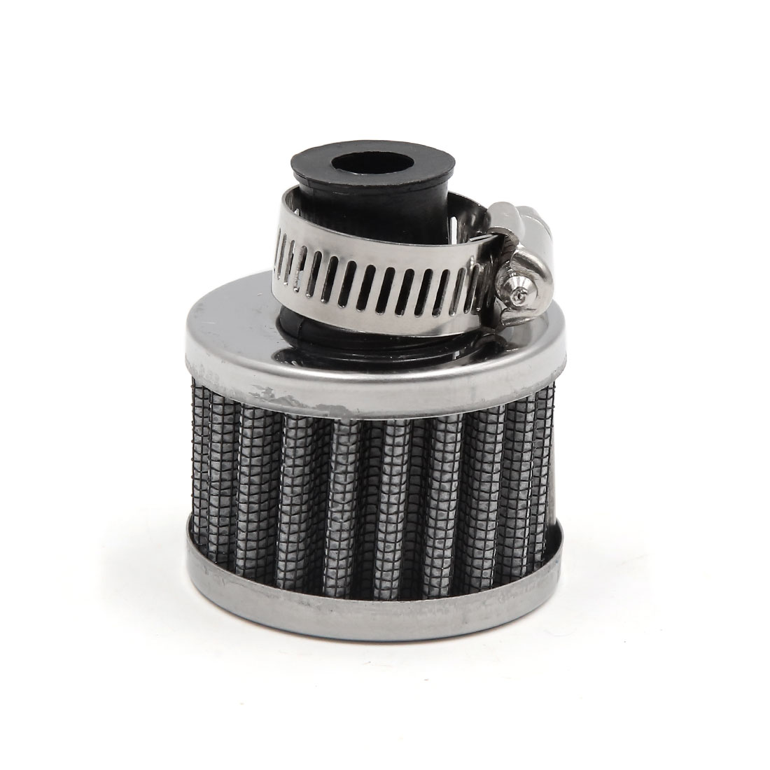 White 11mm Inlet Dia Car Vehicle Air Intake Filter Cleaner w Adjustable Clamp