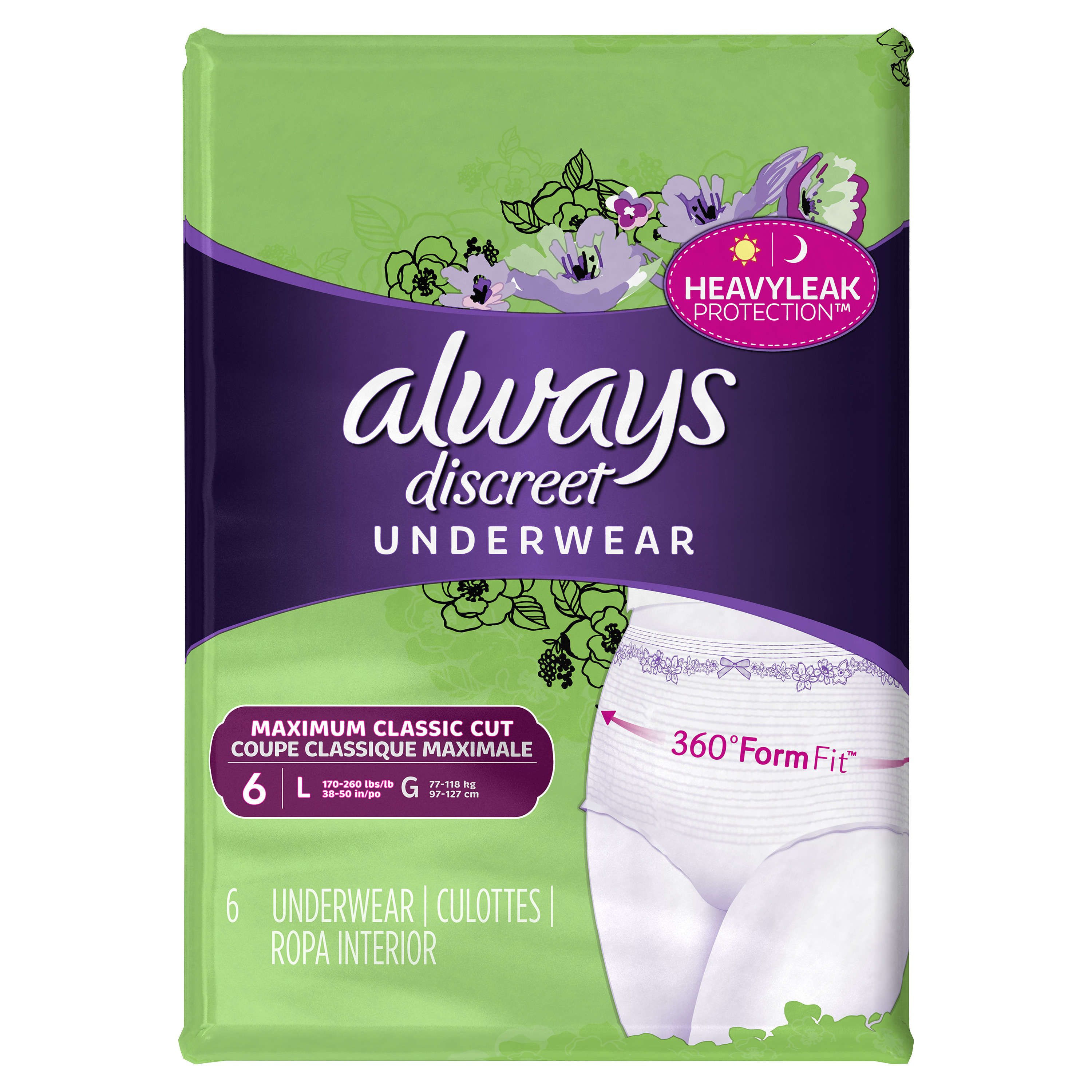 Always Discreet, Incontinence Underwear for Women, Maximum Classic Cut, Large, 6 Count