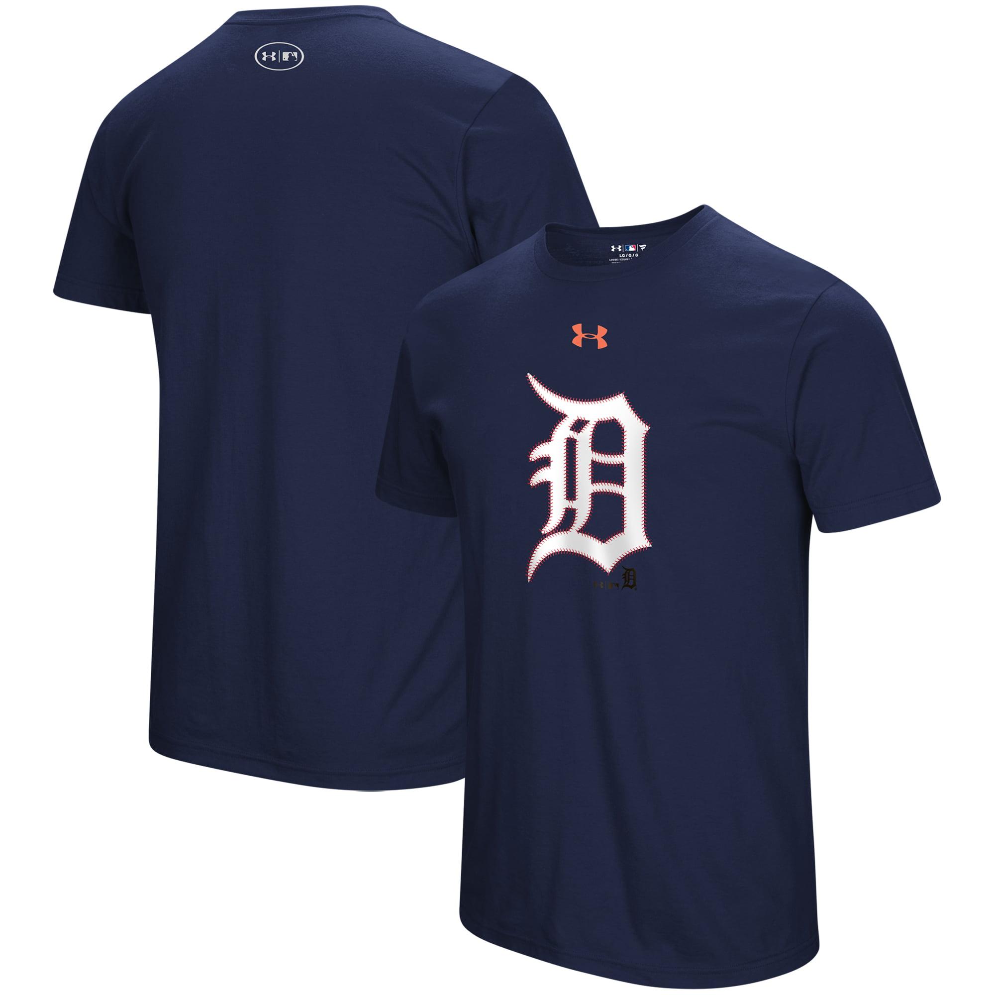 Detroit Tigers Under Armour Passion Stitch Logo Tri-Blend T-Shirt - Navy
