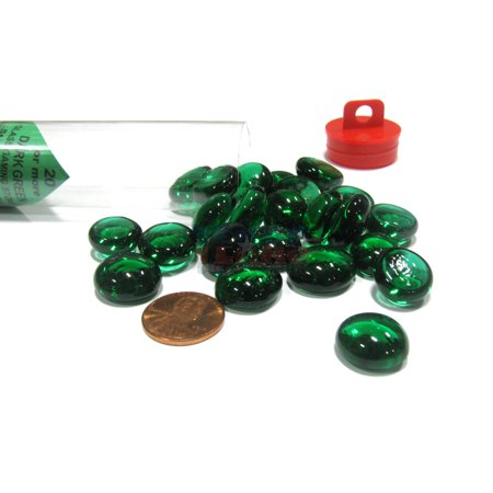 Chessex Tube of 20-25 Glass Gaming Stones Board Game Pieces - Dark Green #01125